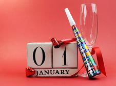 Free Red Theme Save The Date With A Happy New Year, January 1 Stock Photography - 29252412