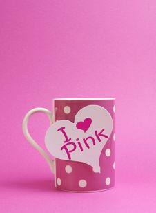 I Love Pink Message On Heart Sign On Pink Polka Dot Coffee Mug Royalty Free Stock Images