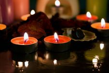 Free Spa Candle Dark Settings Royalty Free Stock Image - 29253766