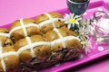 Free Happy Easter Hot Cross Buns On Pink Polka Dot Tray Royalty Free Stock Image - 29262936