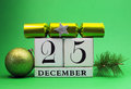 Free Green Theme Save The Date White Calendar For Christmas Day, December 25. Stock Photo - 29263650