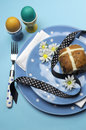 Free Blue Theme Happy Easter Table Setting - Vertical Aerial View. Royalty Free Stock Photo - 29264215