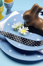 Free Blue Theme Happy Easter Table Setting With Bunny Stock Photography - 29264232