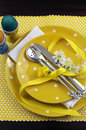 Free Yellow Theme Easter Dining Table Setting - Vertical Royalty Free Stock Image - 29264576