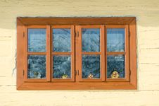 Cottage Window In Vlkolinec Stock Photos