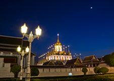 Free Iron Temple Loha Prasat In Wat Ratchanatdaram Worawihan In Night Stock Photos - 29262143