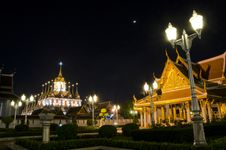 Wat Ratchanatdaram Worawihan, Beautiful Temple At Night, Bangkok