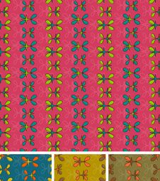 Free Seamless Abstract Pattern. Set Of Four, Pink Blue Brown Stock Photo - 29262580