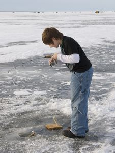 Boy Ice Fishing Stock Photos
