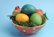 Free Easter Still Life With Rainbow Color Eggs Closeup Against A Blue Background. Royalty Free Stock Photo - 29263075