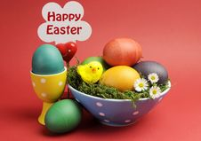 Free Happy Easter Still Life Against A Red Background With Sign. Royalty Free Stock Images - 29263259