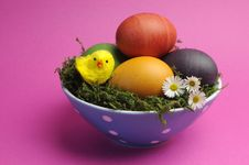 Free Happy Easter Still Life Against A Pink Background. Royalty Free Stock Photography - 29263317