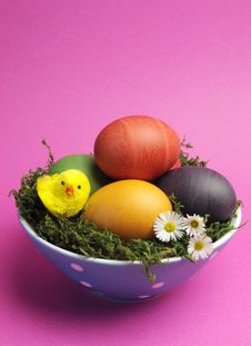Free Happy Easter Still Life Against A Pink Background - Vertical With Copy Space. Royalty Free Stock Image - 29263336
