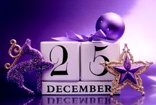 Free Purple Theme Save The Date Calendar For Christmas Day, December 25. Stock Photography - 29263572