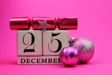 Free Pink Theme Save The Date White Calendar For Christmas Day, December 25. Stock Photo - 29263740