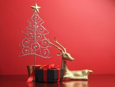 Free Silver And Gold Glitter Christmas Tree And Reindeer Ornaments - With Copy Space. Stock Image - 29263811
