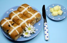 Free Hot Cross Buns With Butter Curls On Blue Background. Royalty Free Stock Photos - 29264288