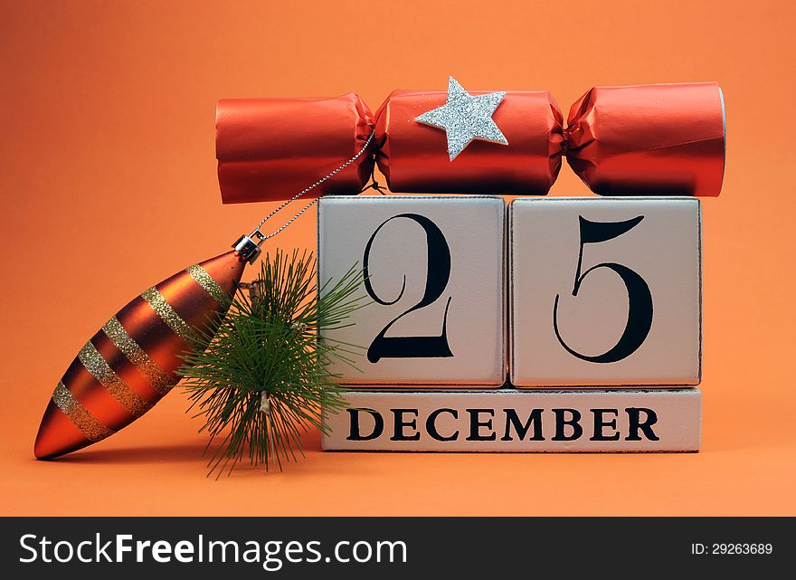 Orange theme save the date white calendar for Christmas Day, December 25.
