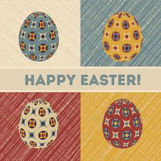 Free Easter Card With Eggs And Banner. Stock Photo - 29280840