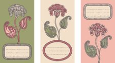 Free Set Of 3 Cards With Floral Design. Stock Photography - 29281662