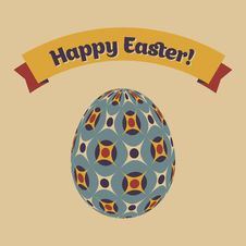 Free Easter Card With Eggs And Banner. Stock Photography - 29282162