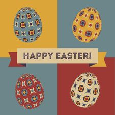 Free Easter Card With Eggs And Banner. Stock Photos - 29282183