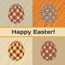 Free Easter Card With Eggs And Banner. Royalty Free Stock Photography - 29282347
