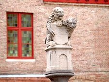 Statue Of Two Lions Guarding The Shield, Bruges