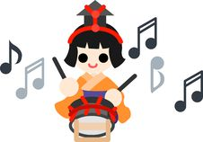 Girls Festival  Five Musicians&x28;small Drum&x29; Stock Photography
