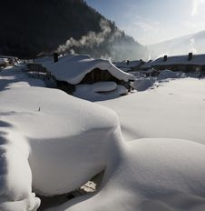 The Farmhouse  & Accumulated Snow Royalty Free Stock Photos