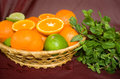 Free Oranges And Limes In A Basket Stock Photography - 29295652