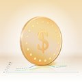Free Gold Coin With Dollar Sign. Vector Illustration Royalty Free Stock Photo - 29296735