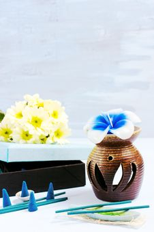 Aroma Set With Flower Candle And Incense Stock Photos