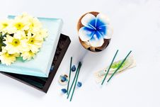 Aromatherapy Set With Flower Candle And Incense Royalty Free Stock Photo