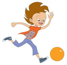 Boy Running For The Ball Stock Images