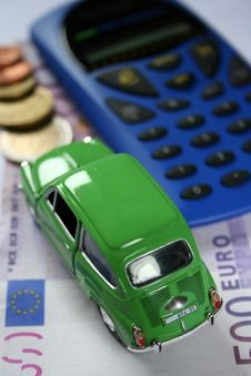 Car, Calculator And Money Stock Photo