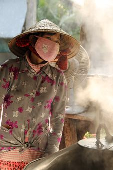 Free Vietnamese Woman Cooking Stock Photography - 29298262