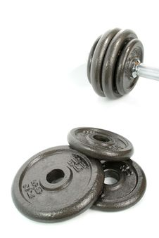 Iron Dumbbells Set On White Royalty Free Stock Photos