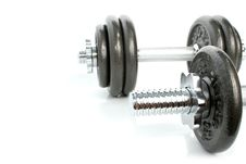 Iron Dumbbells Set Solated Royalty Free Stock Photography