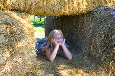 Free Cute Girl On Haybales Royalty Free Stock Images - 2935119