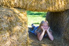 Free Cute Girl On Haybales Stock Photo - 2935260