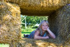 Free Cute Girl On Haybales Royalty Free Stock Photos - 2935408