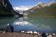 Lake Louise With Man Royalty Free Stock Images