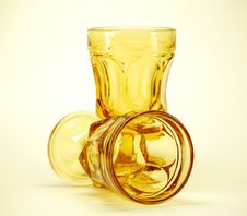 Free Yellow Stemmed Drinking Glasse Royalty Free Stock Photography - 2937937