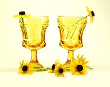 Flowers And Glasses Still Life Royalty Free Stock Photo