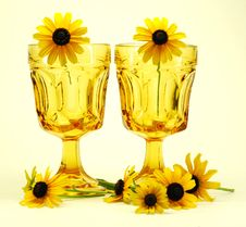 Flowers And Glasses Still Life Stock Image