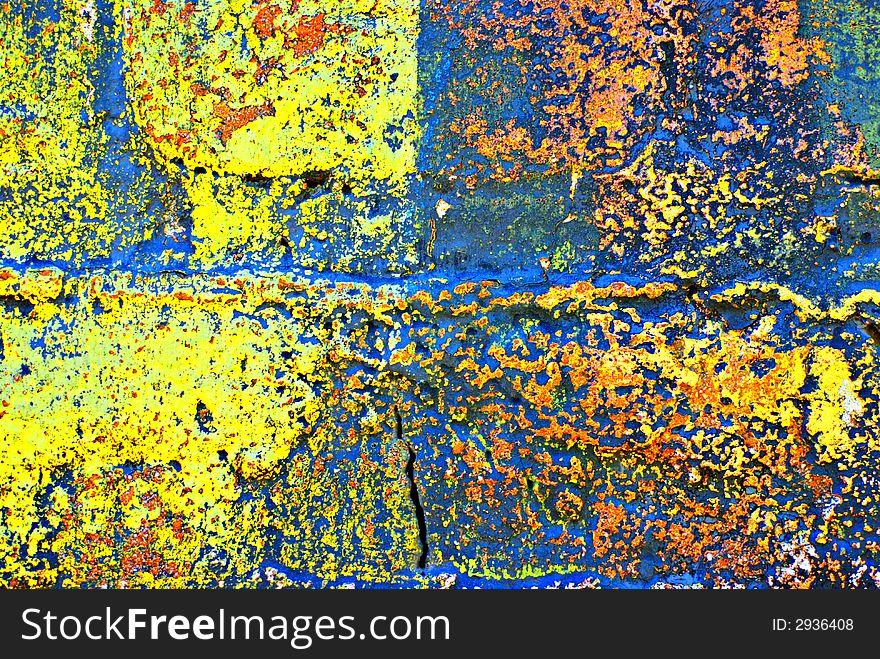 Grunge Painted Brick Wall