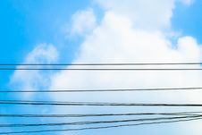 Free Sky Clouds And Electric Wire Royalty Free Stock Image - 29301166