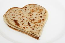 Free Heart-shaped Pancakes On White Royalty Free Stock Images - 29303979