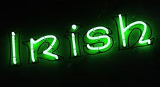 Free Irish Word In Green Neon With Dark Background Royalty Free Stock Photography - 29304277